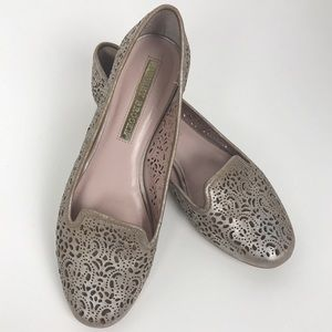 Audrey Brooke Silver Laser Cut Loafers Size 8.5